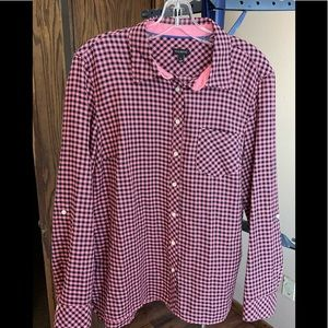 Talbots Long Sleeved Pink & Black Checkered Button Down Shirt #41